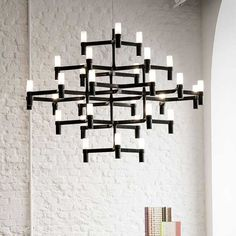 Nemo Gold 30 Light Wide Chandelier with Sandblasted Glass Diffuser Black Chandelier, Pendant Chandelier, Modern Chandelier, Pendant Lighting, Modular Structure, Sandblasted Glass, Crown, Glass Diffuser, Fabric Shades