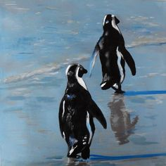"""""""Just Two Penguins out for a Walk"""" by Julie Hollis. Paintings for Sale. Quirky Art, Weird Art, Animal Paintings, Paintings For Sale, Resin Wall Art, Buy Art Online, Christmas Paintings, Walking By, Acrylic Painting Canvas"""