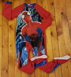 Marvel The Amazing Spiderman 2 boys 10 12 footie pajamas one piece zip up fleece #TheAmazingSpiderman2 #FootiePajamas