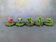 My Blood Bowl Ogres and now converted and painted. I had a blast painting this team and I hope you enjoy the pictures. Blood Bowl, Having A Blast, In The Flesh, Painting, Painting Art, Paintings, Painted Canvas, Drawings