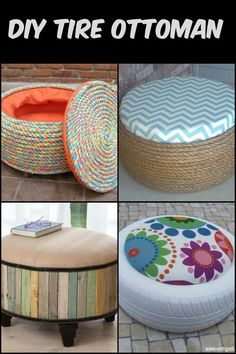 DIY Tire Ottoman : Turn old tires into beautiful ottomans! The only limit is your imagination. Turn old tires into beautiful ottomans! The only limit is your imagination. Turn old tires into beautiful ottomans! The only limit is your imagination. Tire Furniture, Diy Furniture Decor, Furniture Projects, Furniture Makeover, Diy Projects, Antique Furniture, Outdoor Furniture, Western Furniture, Retro Furniture