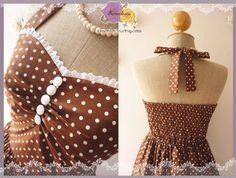 Brown Bridesmaid Dress Brown Dress Summer Dress Tea Length Dress Polka Dot Dress Party Dress Once Upon A Time -Size S -Ready to ship