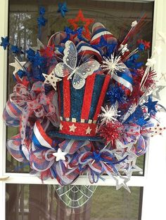 Light Up Deco Mesh 4th of July Wreath by WreathsEtc on Etsy.