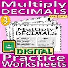 Multiply Decimals - Digital Practice Worksheets by Rethink Math Teacher