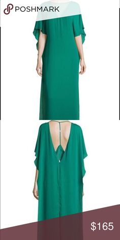 Halston Heritage Illusion Neck Caftan Style Gown BRAND NEW - NEVER WORN! This emerald green size 12 floor length gown has an illusion V neckline and T strap back with a deep V.  Beautifully designed with half sleeves and a relaxed silhouette with back center slit. Made of polyester.  Originally from Neiman Marcus where it sold for over $500. Halston Heritage Dresses Maxi