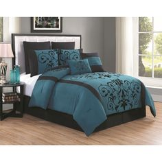 The Cassandra 8-piece comforter set will work in any bedroom. From its velvety textured filigree print in rich hues to its sophisticated piecing, this set will enhance a master bedroom to a guest room.