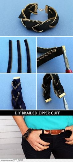 Who knew zippers could make for such awesome arm candy? This kit includes everything you need to make four zipper friendship bracelets and one zipper cuff. Kit makes four single zipper bracelets and one braided black brass zipper bracelet. Diy Tresses, Zipper Bracelet, Diy Bracelet, Bracelet Tutorial, Diy Zipper Jewelry, Gemstone Bracelets, Diy Zipper Earrings, Ankle Bracelets, Dangle Earrings