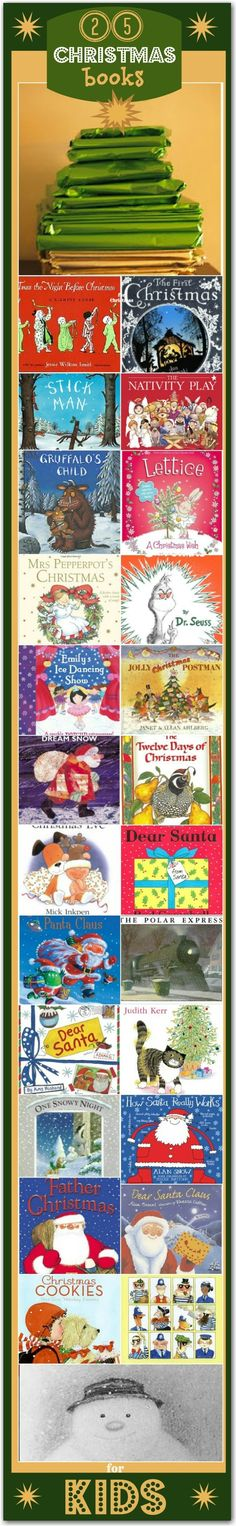 25 Books for Christmas...great idea for school...open a book every day till Christmas break.