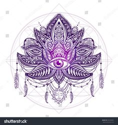 Hand drawn ornate vector ornamental Lotus Tattoo, with elements of sacred geometry, Indian feathers, paisley, beads, ethnic art. Spiritualism, magical symbols for astrology and alchemy in boho style.