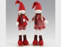 Figura niño y niña vestidos de abrigo rojo ideal para decorar  o como detalle de #Navidad