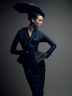 Inspiration: Dior's No Nah San suit that like the Bar jacket, creates a stylised silhouette, interpreted in the Dior VIII watches. Photo-Demarchelier