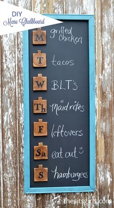This cute menu board is an easy DIY project that will help you get organized for meal planning and add a touch of fun to your home decor. A double win! It could also be used for organizing your weekly schedule or family appointments.: