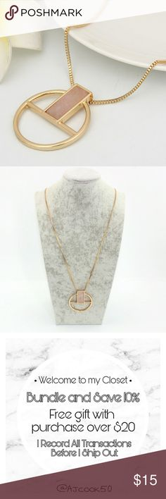 Circle Pendant Necklace With Pink Stone Beautiful vintage style gold circle pendant drop necklace with rectangle pink stone inside.   Material: Zinc Alloy, Gold Plated and Stone Jewelry Necklaces