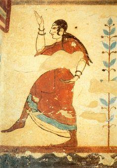 Esta pintura mural muestra el peinado característico de las mujeres etruscas: cabello largo y trenzado, y flequillo rizado.