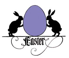 Vintage Easter Images - Bunnies with Egg - Silhouettes - The Graphics Fairy