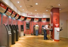 People using the automated self service machines that have been installed inside a branch of HSBC Bank Interior Design, Startup Office, Bank Branch, Self Serve, Interactive Design, Push Up, Signage, Britain, People