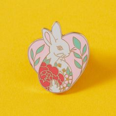Bunny Heart Enamel Pin // Heart Shaped Pin Badge Brooch by Punkypins on Etsy https://www.etsy.com/uk/listing/569323237/bunny-heart-enamel-pin-heart-shaped-pin