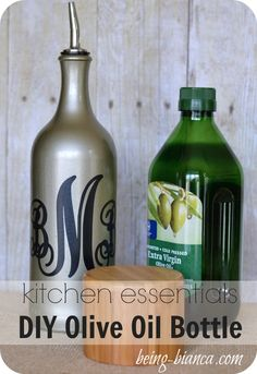 Turn a wine bottle into a decorative kitchen bottle!  You won't mind keeping your essentials, like olive oil, out when they are displayed using this DIY olive oil bottle.  Great, inexpensive craft / DIY project for your home!