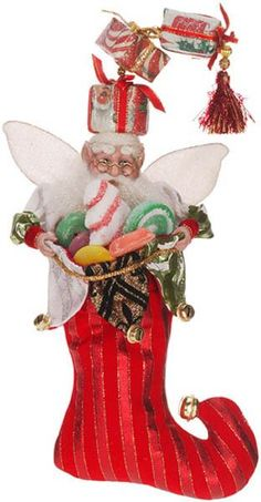 Shop 'Til You Drop Fairy has brought gifts galore! - Christmas stocking (by Mark Roberts) http://www.showmedecorating.com/collections/mark-roberts-stockings-holders/products/shop-til-you-drop-fairy-stocking