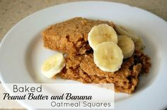 Try these Baked Peanut Butter and Banana Oatmeal Squares with a side of vanilla yogurt and a topping of bananas for a super healthy and delicious breakfast! It's only 4 Weight Watchers points, too.