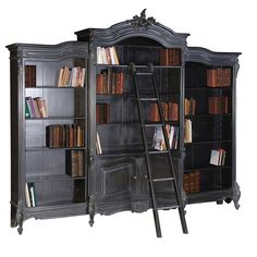 Moulin Noir French Triple Bookcase with Ladder