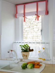 simple flat window panel/shade rolled and held in place with fabric ties, cute for kitchen window treatment Valance Window Treatments, Kitchen Window Treatments, Cute Curtains, Curtains With Blinds, Red Home Decor, Interior Decorating Styles, Window Dressings, Curtain Designs, Kitchen Curtains