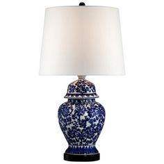 Blue and White Porcelain Temple Jar Table Lamp  Style # R2462 - MOST POPULAR!  Read 5 Reviews  Write a Review  A sophisticated ginger jar style porcelain table lamp with a classic blue and white floral pattern.    Sale $79.99