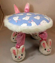 Small Footstool, Child's Chair, Bunny Rabbit, Children's Furniture, Handmade, Unique Baby Nursery Furniture, Unique Baby Gift, Easter Gift