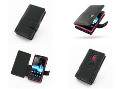 PDair Leather Case for Sony Xperia Acro S LT26W - Book Type (Black)
