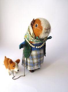 Elizabeth My Dear Original Needle Felted Royal Guinea Pig