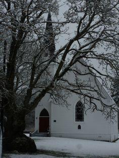 Church in the snow~San Juan Island photo by Joanne