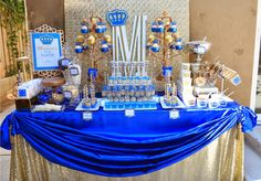 It's a ROYAL affair. A 'royal' themed dessert table filled with crowns, gold and royal glitter.