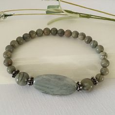 Stretch Bracelet-Gemstone Silver by HoneysuckleJewelscom on Etsy