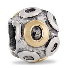 Pandora Letter O Charm 14k Gold and Sterling Silver