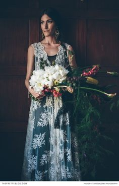 A dramatic and unique wedding bouquet | Genevieve and Kelly's Wildly Bohemian Wedding | Real weddings