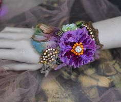 Aster cuff,  bold ornate  cuff/wrist wrap with antique laces, bohemian wrist wrap,beading and crystals by FleursBoheme on Etsy https://www.etsy.com/au/listing/560181080/aster-cuff-bold-ornate-cuffwrist-wrap