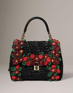 Medium fabric bags Women - Bags Women on Dolce Online Store United States - Dolce & Gabbana Group Bag Crochet, Freeform Crochet, Crochet Shoes, Crochet Handbags, Crochet Purses, Filet Crochet, My Bags, Purses And Bags, Dolce And Gabbana Handbags