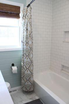 Cottage bathroom, white subway tile shower
