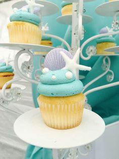 Bizzie Bee Creations 's Birthday / Mermaids - Little Mermaid birthday party at Catch My Party Little Mermaid Centerpieces, Little Mermaid Cupcakes, Mermaid Party Decorations, Little Mermaid Birthday, Little Mermaid Parties, Birthday Centerpieces, Mermaid Cakes, Birthday Party Themes, Birthday Ideas