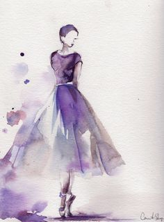 Original Watercolor Painting Ballerina Painting door CanotStop