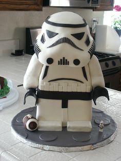 Standing lego stormtrooper - This is a cake I made for my step-son's birthday. It's my first standing figure. I have all the info at dazeycakes.blogspot.com.