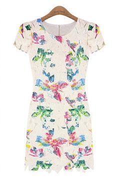 Floral Cutout Lace Dress