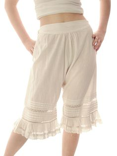 "Vintage Antique Ladies Bloomers White Cotton Fancy 26"" Waist Small – The Best Vintage Clothing"
