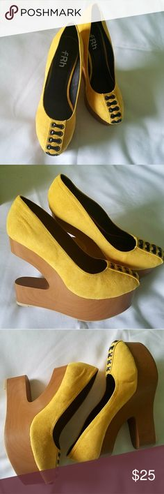 "SLEEK SPLIT YELLOW WEGDES Turn heads with these cute ""Wedge"" your way onto the best-dressed list with these fabulously fun round toe wedge sandals boasting a super-tall heel for convenience. these unique cut-out wedge sandals are fun and playful.?  Heel 5.25"" w/ 1.5 platform front Shoes Wedges"