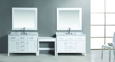 """Two London 48"""" Single Vanity Set in White Finish with One Make-up table in White"""