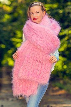 Handmade pink fuzzy mohair scarf designer hand knitted long shawl 5 STRANDS 1 kg #SuperTanya #Extralonghandmademohairscarf