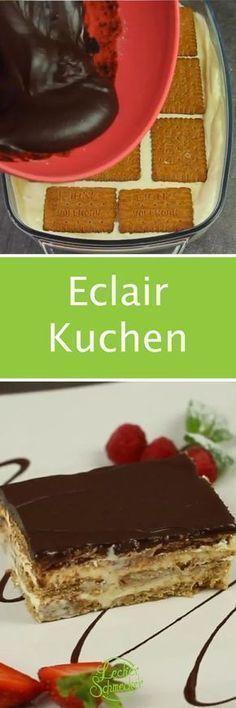 Eclair Kuchen ohne Backen mit Pudding und Keks