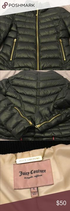 "Black Juicy Couture Puffer Winter Jacket SMALL USED Black Juicy Couture Puffer Winter Jacket, very warm for colder months! No hood, but pockets! Gold hardware. Juicy ""J"" and other pulls in pockets has some signs of wear. Let me know if you have any questions and check out the rest of my closet! Thanks and have a good day :) Juicy Couture Jackets & Coats Puffers"
