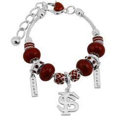 Florida State Seminoles (FSU) Circle Logo Bracelet - Silver/Garnet