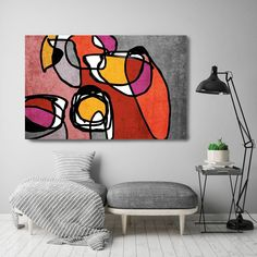 Vibrant Colorful Abstract-0-52. Mid-Century Modern Red Gray Canvas Art Print, Mid Century Modern Canvas Art Print up to 72 by Irena Orlov Wall Art Decor for Home, Office or Hotel MIDCENTURY ABSTRACT ART With retro colors and free formed geometric shapes, all of this pieces in my